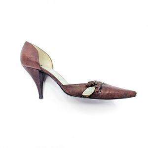 SIGERSON MORRISON d'orsay brown leather heels